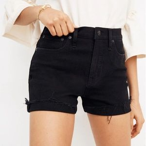 Madewell Black Raw-Hem High-Rise Denim Shorts